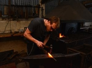 Kyle Swann, workshop, blacksmith, artist, bespoke, metal work, traditional