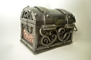 Jewellery box, small chest, hand forged, scroll work, repousse copper, beautiful and elegant chest