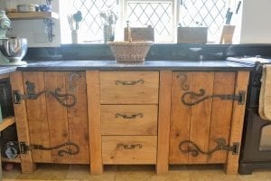 "alt="""" Country Kitchen, Bespoke Kitchen, Luxury Homes, Oak Kitchen, Custom Kitchen, Ironwork, Wrought Iron, Wrought Iron Hinges, Hare, Hedgehog, Squirrel, Geese"