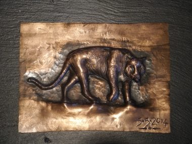 Swann Forge, Copper, Repousse, Tiger, Art,